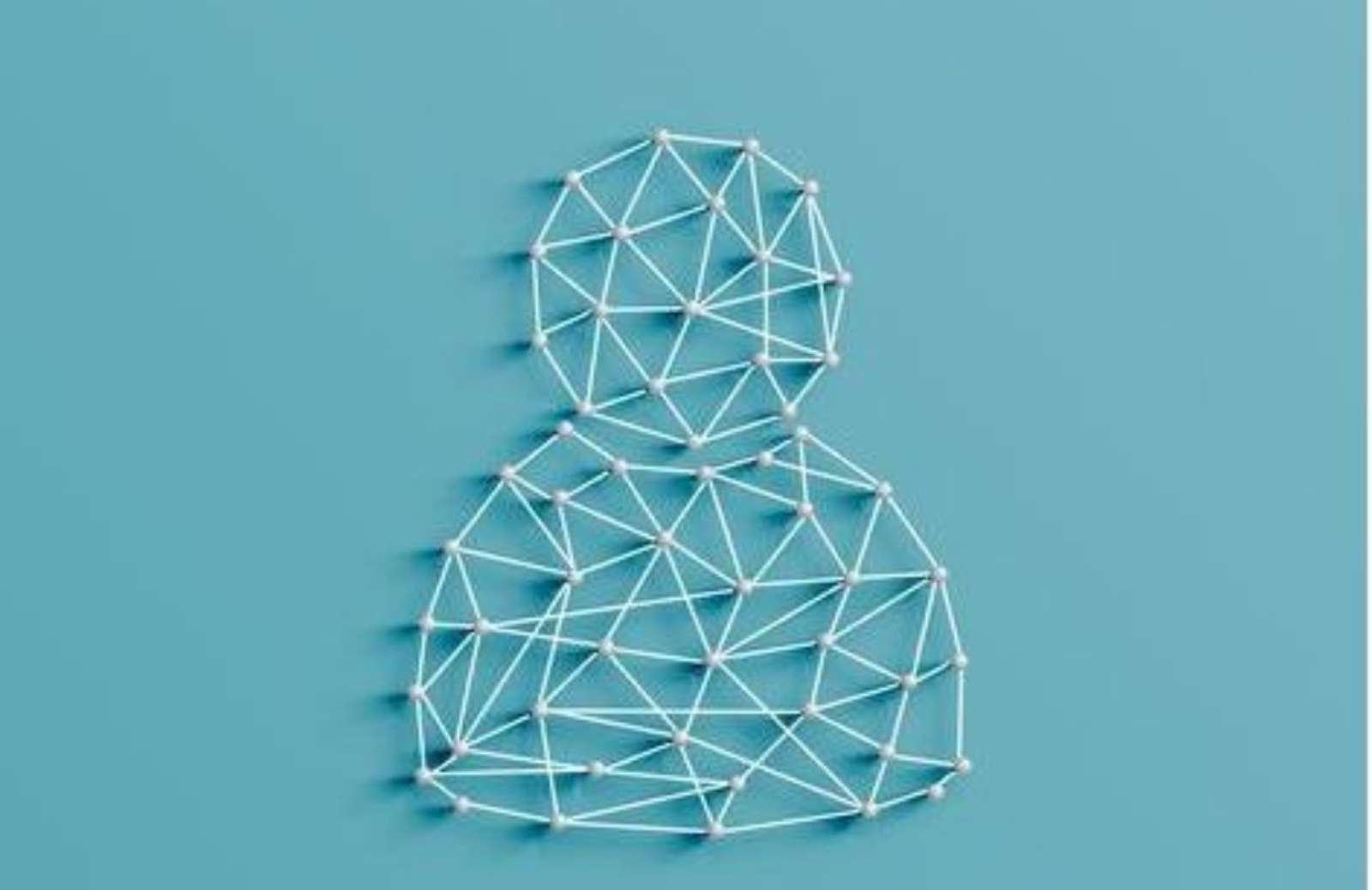 String art of head and shoulders against a blue background