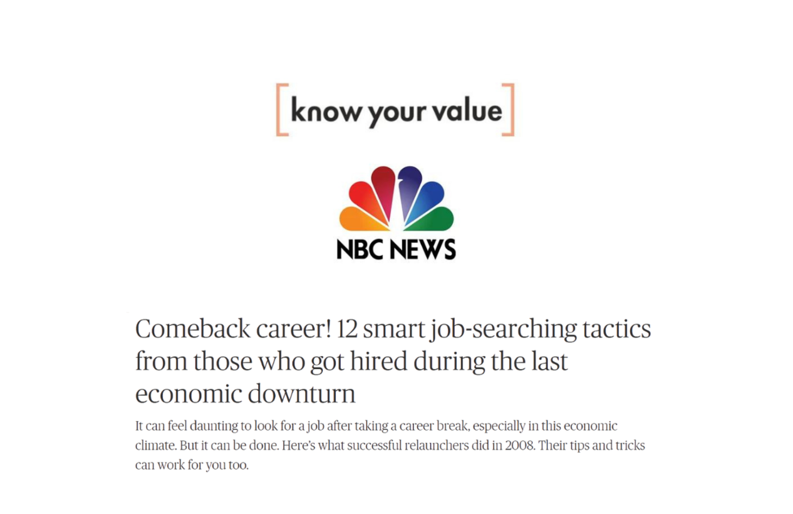 Know Your Value Comeback Career 12 Smart Job Searching Tactics news thumbnail