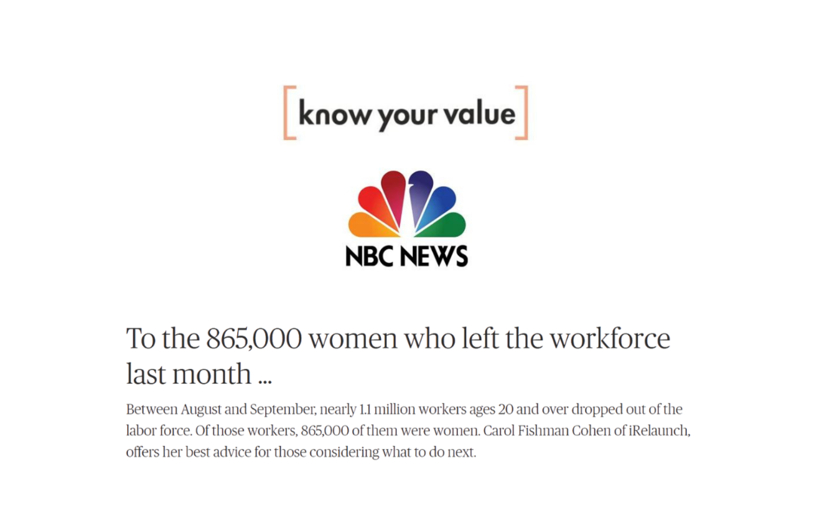 Know Your Value To the 865000 Women Who Left Workforce news thumbnail