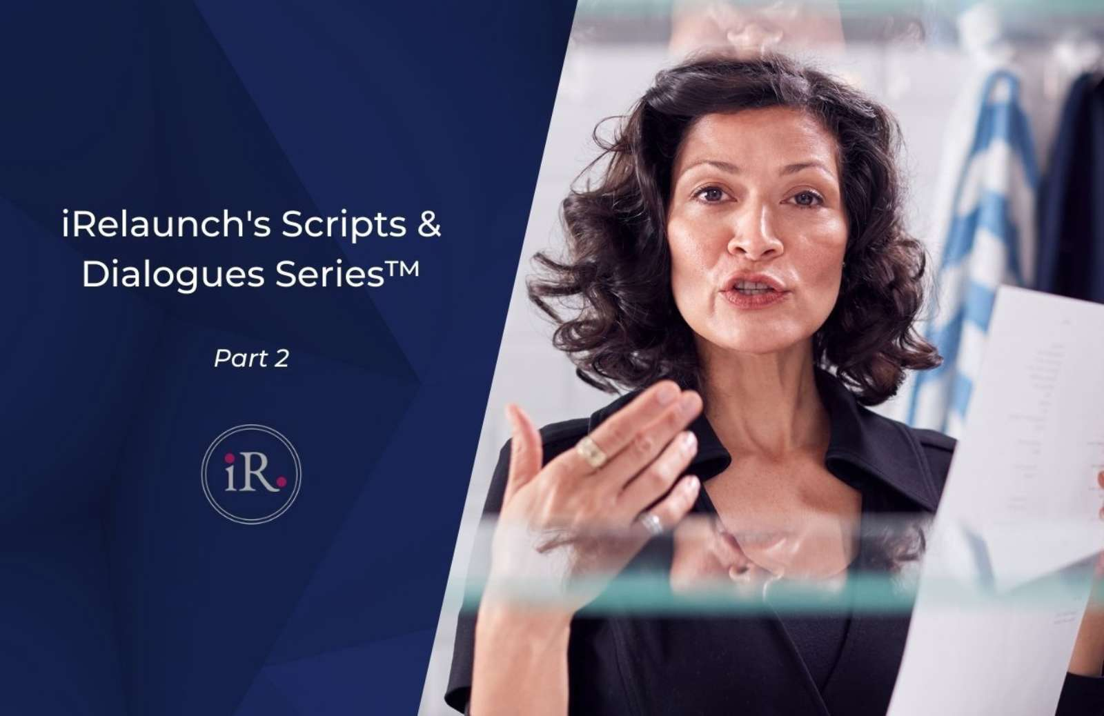"""Text """"Scripts and Dialogues"""" next to image of woman talking to camera"""