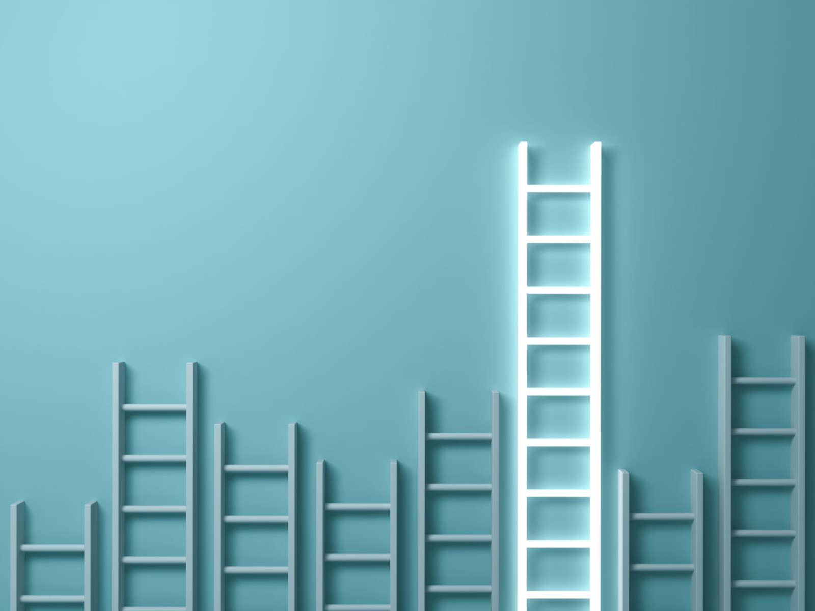 Seven gray ladders and one white ladder against a blue wall