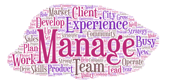A sample Word Cloud of different adjectives, verbs and nouns that Michelle's client discovered with this exercise